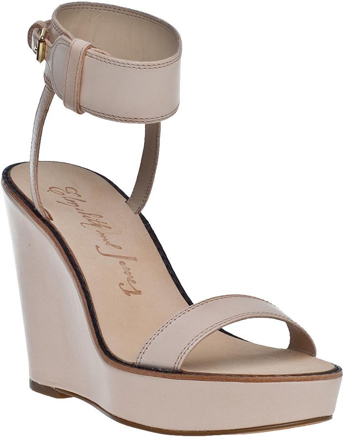 Elizabeth and James Brit Wedge Sandal Natural Leather