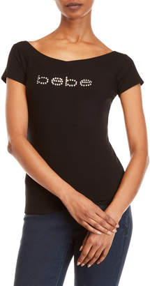 Bebe Ribbed Logo Tee