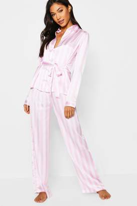 boohoo Stripe Satin Button Through Tie Front PJ Set