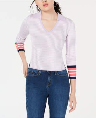 Freshman Juniors' Contrast Striped Polo Sweater