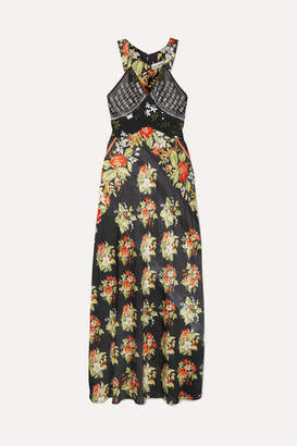 Paco Rabanne Black Rose Embroidered Floral-print Satin Maxi Dress