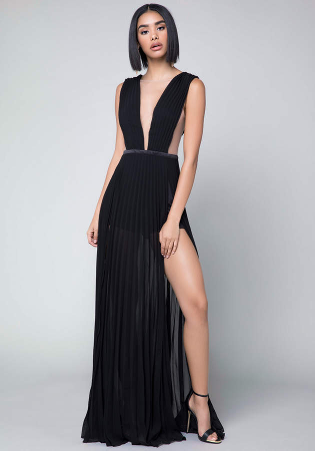 Solid Double Slit Gown