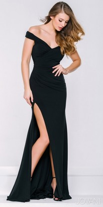 Jovani High Slit Off the Shoulder Ruched Evening Dress $480 thestylecure.com