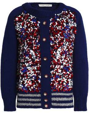 Marc Jacobs Distressed Embellished Wool-Blend Cardigan