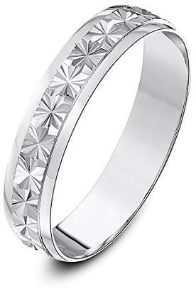 Theia Heavy Weight D-Shape Star Centre Design 9 ct White Gold Wedding Ring, 4 mm - Size K