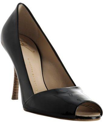 Giuseppe Zanotti black patent peep-toe pumps