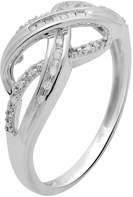 10k White Gold 1/10-ct. T.W. Diamond Crisscross Ring