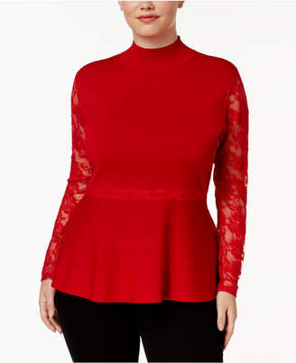 INC International Concepts I.n.c. Plus Size Lace Peplum Sweater