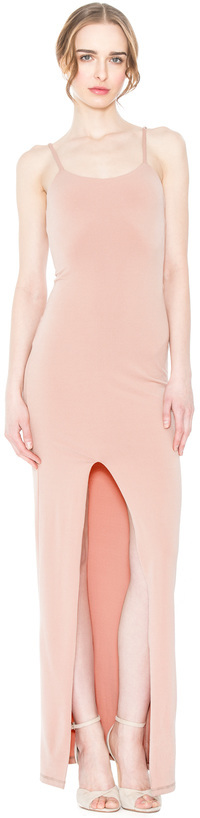 Alice + Olivia Rose Tan Addie High Slit Fitted Dress