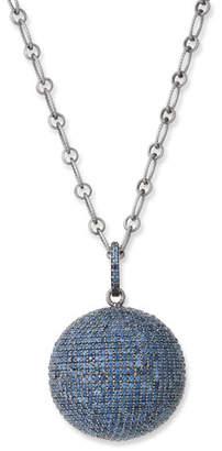 Siena Jewelry Blue Sapphire Ball Pendant Necklace