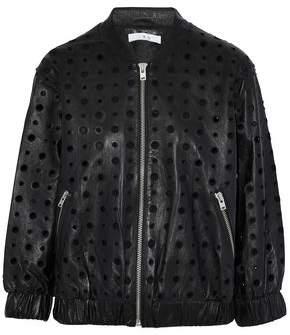 IRO Eyelet-Embellished Leather Bomber Jacket