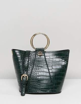 Liquorish Structured Tote Bag With Metal Handle And Optional Shoulder Strap