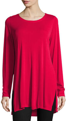 Eileen Fisher Silk Jersey Long-Sleeve Tunic, Plus Size $152 thestylecure.com