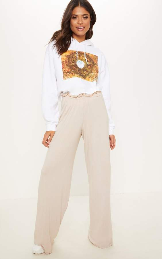 Stone Jersey Ruched Waist Casual Trouser