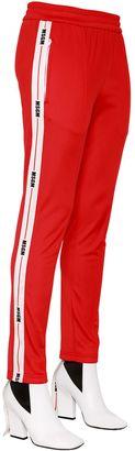 MSGM Logo Side Bands Techno Jersey Pants