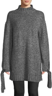 Moon River Tie-Sleeve Turtleneck Sweater