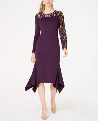 INC International Concepts I.N.C. Lace-Inset Sweater Dress, Created for Macy's