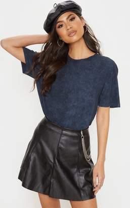 PrettyLittleThing Black Washed Oversized T Shirt