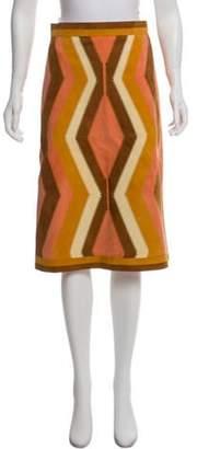 Valentino Suede Knee-Length Skirt Coral Suede Knee-Length Skirt