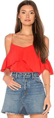 Line & Dot Raquel Asymmetric Ruffle Top in Orange $66 thestylecure.com
