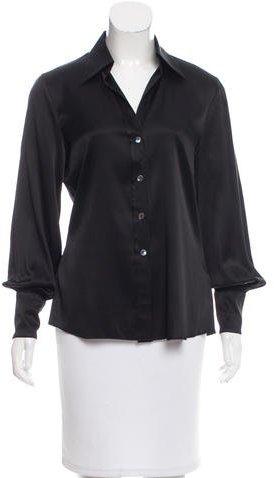 Trina Turk Long Sleeve Silk Top