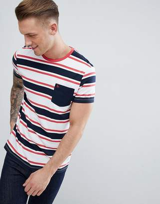 Jack Wills Cardell Block Stripe T-Shirt in Navy/Red