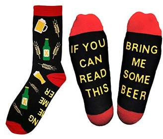 "IDEA ""If You Can Read This Bring Me Some Beer"" Novelty Socks - Funny Gag Gift for Beer Lovers"