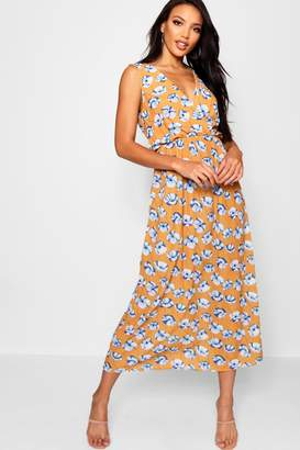 boohoo Print Wrap Front Maxi Dress