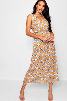 boohoo Print Wrap Front Maxi Dress