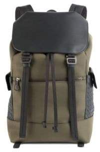 Bottega Veneta Men's Intrecciato Trim Canvas Backpack - Mustard Nero