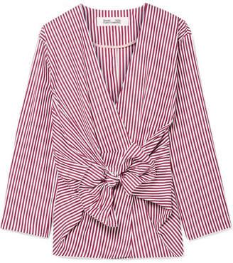 Diane von Furstenberg Tie-front Striped Cotton-poplin Shirt