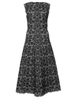 Alaia Two-Tone Wool-Blend Jacquard-Knit Midi Dress