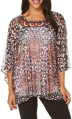 Rafaella Short Sleeve Crew Neck Mesh Embellished Blouse