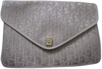 Christian Dior Vintage Beige Cloth Clutch Bag