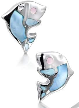 Jo for Girls Silver Blue Mother of Pearl Dolphin Earrings