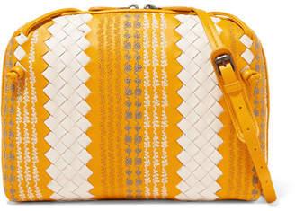 Bottega Veneta Nodini Two-tone Embroidered Intrecciato Leather Shoulder Bag - Yellow