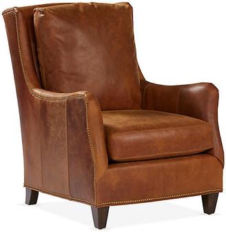 Massoud Furniture Etna Wingback Chair - Café Leather