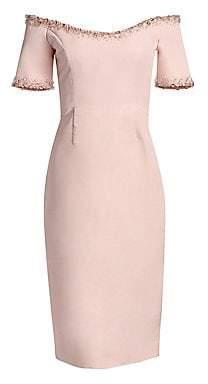 Catherine Regehr Women's Oriel Off-The-Shoulder Embellished-Trim Sheath Dress