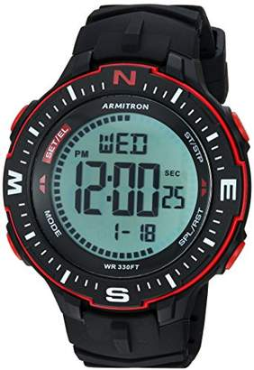 Armitron Sport Men's 40/8391BRD Red Accented Digital Chronograph Silicone Strap Watch
