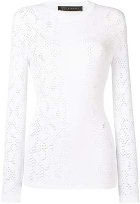 Versace pointelle stretch-knit top