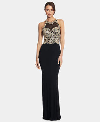 Xscape Evenings X by Petite Embroidered Illusion Gown
