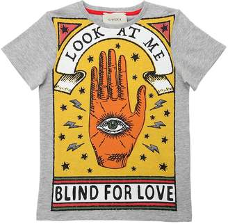 Gucci Hand & Eye Printed Cotton Jersey T-Shirt
