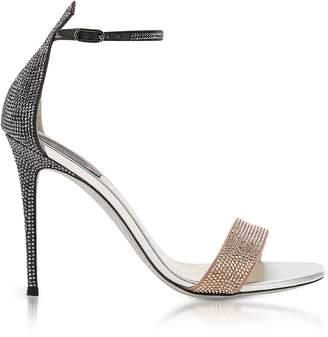 Rene Caovilla Celebrita Two-tone Satin Sandals w/Crystals