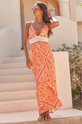 Lipsy Crochet Maxi Beach Dress - 6 - Orange