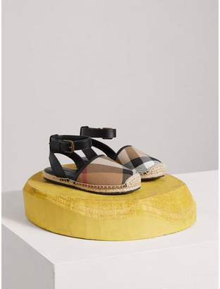 Burberry Leather Ankle Strap and House Check Espadrille Sandals , Size: 32, Black
