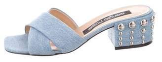 Sergio Rossi Denim Slide Sandals