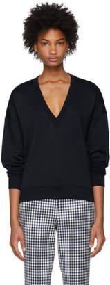 Tibi Navy Draped Back Sweatshirt