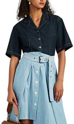 Colovos Women's Cotton Chambray Button-Front Shirt