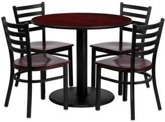 Flash Furniture 36'' Round Mahogany Laminate Table Set with 4 Ladder Back Metal Chairs, Mahogany Wood Seat