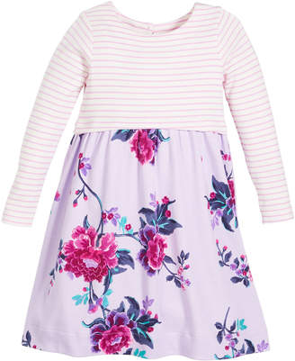 Joules Striped & Floral Long-Sleeve Cotton Dress, Size 2-6